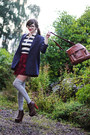 Navy-monki-blazer-dark-brown-leather-satchel-vero-moda-bag