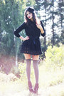 Black-sans-noblesse-dress-black-veiled-vintage-hat-gray-over-knee-asos-socks