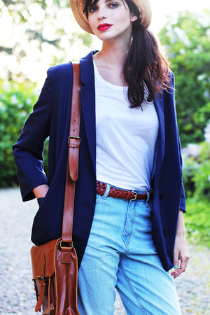 weekday top - sky blue Monki jeans - navy Monki blazer - Vero Moda bag