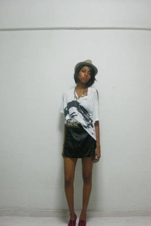 Zara hat - SixSix necklace - bangkok shirt - Moschino belt