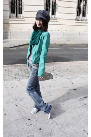 charcoal gray Etsy hat - Zara jeans - teal Pimkie jacket
