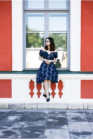 navy House of Fraser dress - navy Yull Shoes flats - black SpecsPost glasses