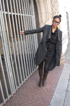 coat - dress - leggings - boots
