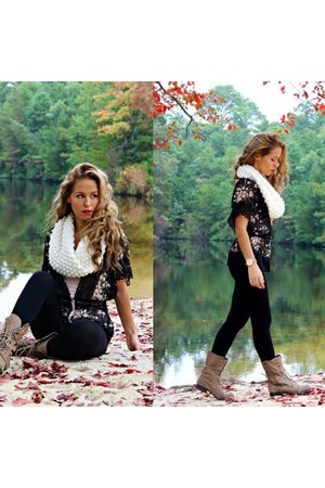 black Charlotte Russe top - tan Aldo boots