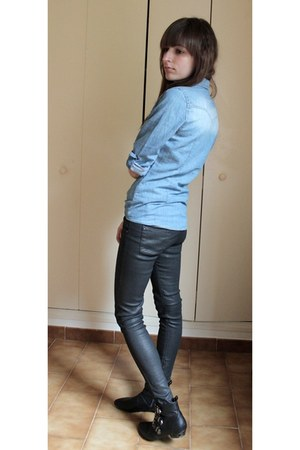 black ankle no brand shoes - black skinny Zara jeans - sky blue denim mim shirt