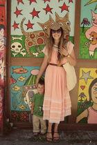 pink vintage dress - brown cydwoq shoes