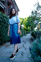 denim skirt Anthropologie skirt - stripes Anthropologie shirt