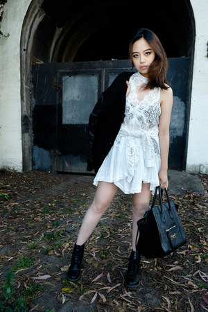 white lace free people dress - black leather Dr Martens boots