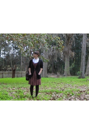 thrifted dress - Gap cardigan - mexican street stand blouse - Target tights - th