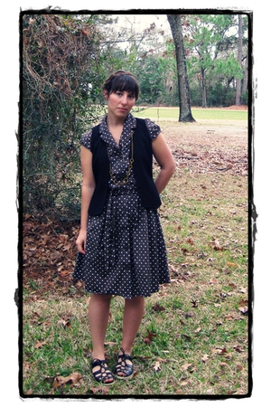brown thrifted dress - black Limited vest - black ellemeno shoes