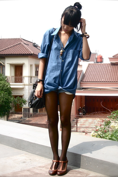 brown next shoes - blue it was my dads damon blouse
