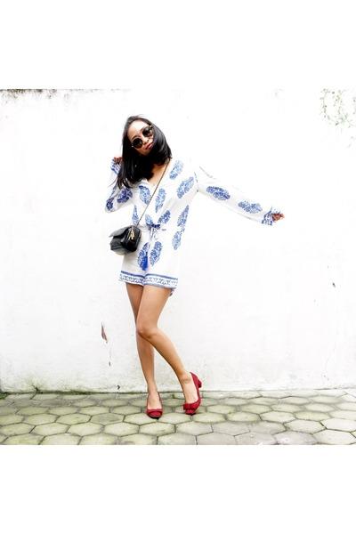 cotton zaful romper - suede Zara heels