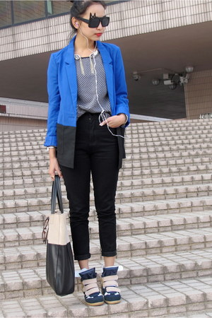 black and blue H&amp;M blazer - black and khaki H&amp;M bag