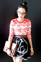 anchor print La delle clothing skirt - satchel H&M bag - leather Topman belt