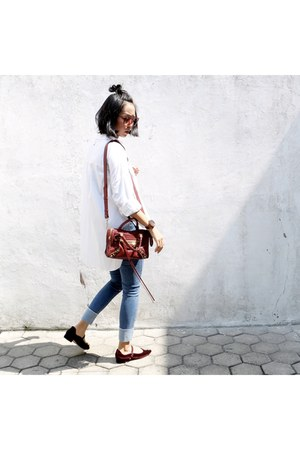 white Shop At Velvet shirt - mini city balenciaga bag - mary janes Zara flats
