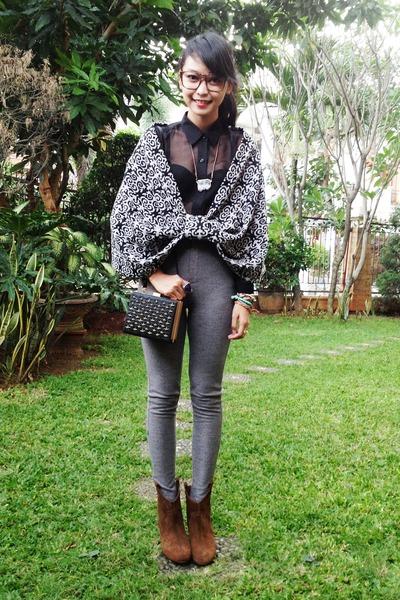 brown Zara boots - see through La delle clothing shirt