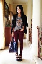 Zara jeans - leopard xfemmex top - flatform Zara sandals