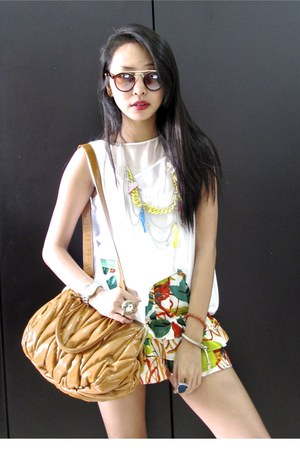 iRoo bag - floral iRoo shorts - GLASSESSHOP sunglasses - asymmetrical iRoo top