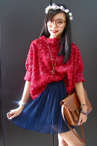pleated skirt seen label skirt - satchel H&M bag - 3d roses my own design top