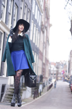 Topshop skirt - chicnova dress - H&M Trend coat - H&M hat - Monki tights