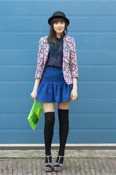 floral Zara blazer - Topshop shirt - Ebay bag - asos africa skirt