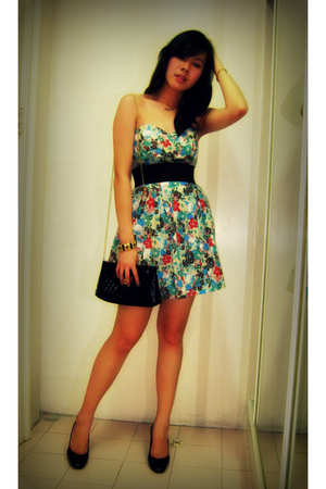 fave dress - Zara Wedge Pumps shoes - Dorothy Perkins purse - Topshop waist belt