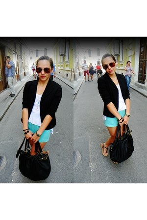 black vintage jacket - black pieces bag - aquamarine handmade shorts