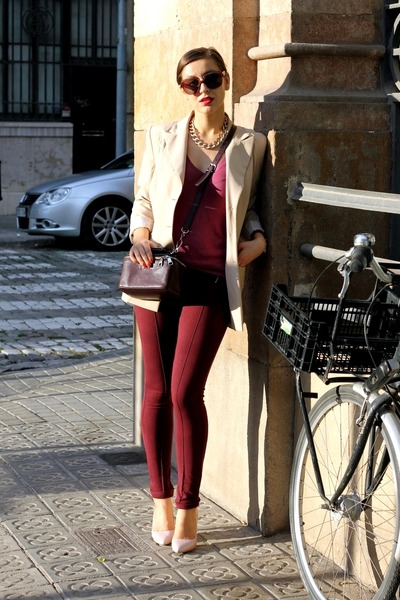 crimson Bimba & Lola bag - magenta Massimo Dutti sweater - beige Kenzo blazer