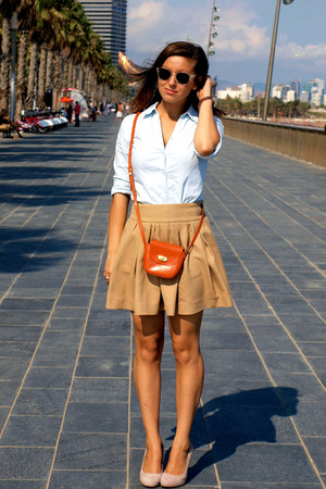 tan Zara skirt - light blue vintage shirt - orange asos bag