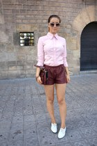 vintage bag - vintage shirt - leather H&M shorts - vagabond flats