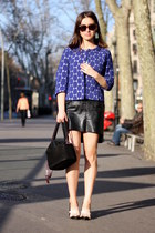 black leather vintage skirt - navy Marni for H&M blazer - black Uterque bag