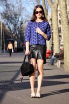 black leather vintage skirt - navy Marni for H&M blazer - black Uterque bag