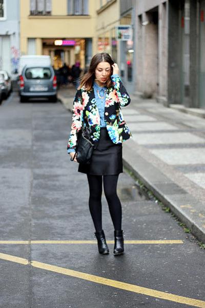 black H&M Trend blazer - black Zara boots - teal Quiksilver shirt
