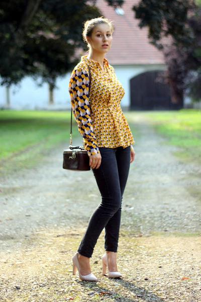 mustard H&M Trend shirt - black Mango jeans - crimson Bimba & Lola bag