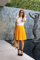 black Zara heels - beige Zara bag - gold vintage skirt