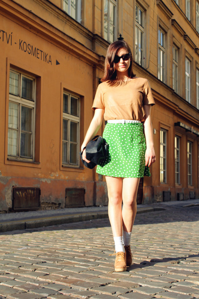 green polka dotted DIY skirt - camel leather H&M t-shirt - camel Zara wedges