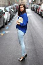 black Uterque heels - sky blue Topshop jeans - blue vintage shirt