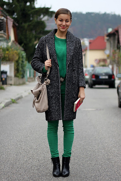 green angora H&M sweater - black Zara boots - gray H&M coat - green Zara pants