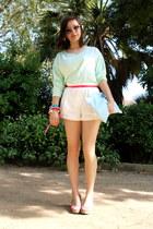 light blue handmade bag - white lace H&M shorts - lime green H&M top