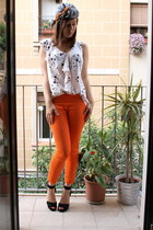 gray Hermes scarf - black H&M heels - ivory H&M blouse - orange Zara pants