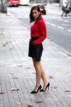black vintage & DIY skirt - red vintage sweater - black Zara heels