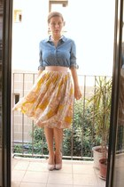 light pink H&M skirt - blue Quiksilver shirt - light pink Zara heels