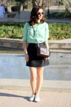 white vagabond shoes - lime green vintage shirt - crimson Bimba & Lola bag
