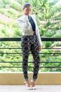 Print-miss-selfridge-blazer-print-topshop-pants-silver-aldo-heels