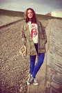 Army-green-vero-moda-jacket-blue-topshop-leggings-beige-chanel-purse