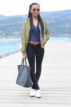 black skinny jeans Zara jeans - olive green bomber jacket Topshop jacket