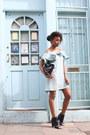 Black-missguided-boots-aquamarine-ruffle-neck-asos-dress