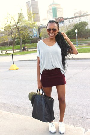 white top - brick red skirt - white loafers