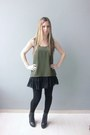 Black-asos-leggings-black-zara-skirt-black-guess-vest-green-asos-top