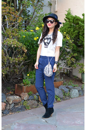 Uniqlo t-shirt - asos boots - Forever 21 hat - sequin free people bag